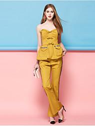 Femme Boot Cut Entreprise Pantalon,Décontracté / Quotidien simple Rayé Taille Normale Elasticité Coton Polyester Nylon Micro-élastique