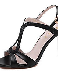Heels Summer PU Dress Low Heel Buckle Black Silver Blue