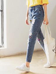 подписать залатать дыры в джинсах женских нищий брюки ноги брюки моды женщин брюки брюки