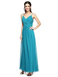 Sheath / Column Spaghetti Straps Floor Length Chiffon Bridesmaid Dress with Ruching Criss Cross by LAN TING BRIDE®