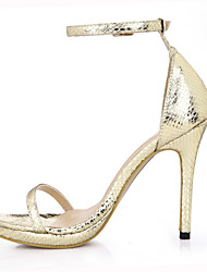 Women's Sandals Summer Comfort Light Up Shoes PU Wedding Dress Party & Evening Stiletto Heel Black Gold