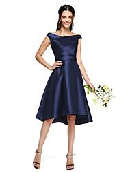 2017 Lanting bride® mikado vestido de dama elegante assimétrico - uma linha off-a-ombro com drapeados lado