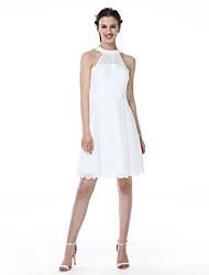Trapèze Bijoux Courte / Mini Satin Tulle Robe de Demoiselle d'Honneur  avec Ceinture / Ruban Plissé par LAN TING BRIDE®