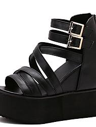 Sandalen-Kleid-PU-Keilabsatz-Gladiator-Schwarz Weiß