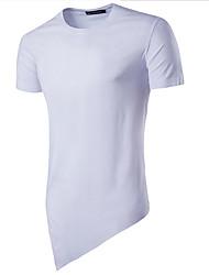 Solide Einfach Lässig/Alltäglich T-shirt,Rundhalsausschnitt Kurzarm Blau Weiß Grau Grün Baumwolle