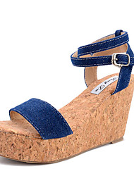 Women's Sandals Summer Other Fabric Dress Wedge Heel Buckle Light Blue Navy Blue