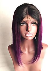 ombre T1b / Cor Púrpura humanos cabelo bob rendas perucas cabelo reto 130% de densidade da Malásia perucas do laço do cabelo virgem com