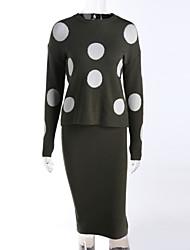 Damen Standard Pullover-Arbeit Urlaub Niedlich Chinoiserie Druck Mehrfarbig Rundhalsausschnitt Kurzarm Baumwolle Frühling Winter Mittel