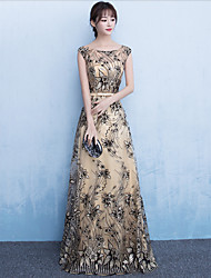 Formal Evening Dress Sheath / Column Scoop Floor-length Lace Sequined with Sash / Ribbon