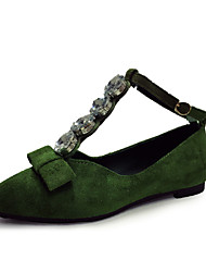 Women's Flats Spring Summer Fall Light Soles PU Office & Career Dress Casual Flat Heel Pearl Black Green Light Brown Walking