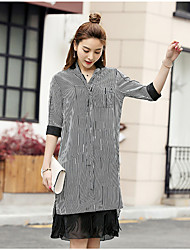 Women's Party/Cocktail Sports Holiday Simple Street chic Active Summer Shirt,Striped Shirt Collar ½ Length Sleeve White Black Silk Medium