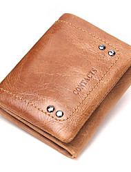 Contacts Genuine Leather Trifold Pocket Wallet Money Clip Casual Office Career Wallet Cowhide Unisex