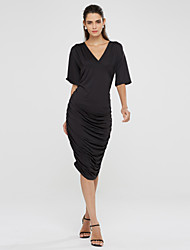 Women's Sexy / Party / Cocktail Solid Plus Size Dress , Deep V Midi Cotton