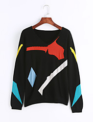 Women's Party/Cocktail Holiday Going out Vintage Street chic Sophisticated Regular Pullover,Camouflage Multi-color V Neck Long Sleeve