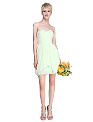 LAN TING BRIDE Short / Mini Chiffon Bridesmaid Dress - Sheath / Column Strapless / Sweetheart Plus Size / Petite