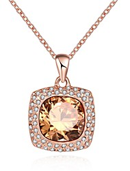 Women's Pendant Necklaces Crystal AAA Cubic Zirconia Square Geometric IrregularCrystal Cubic Zirconia Glass Rose Gold Plated Tin Alloy
