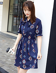 Women's Going out Casual/Daily Beach Simple Cute A Line Sheath Chiffon Dress,Solid Geometric Round Neck Above Knee Short SleeveBlue Red