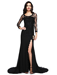 TS Couture Formal Evening Dress - Furcal Sexy A-line Jewel Court Train Chiffon Lace with Appliques Beading Split Front