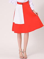 Röcke,A-Linie Muster Patchwork,Lässig/Alltäglich Einfach Mittlere Hüfthöhe Knielänge Reisverschluss Leinen Micro-elastischRiemengurte