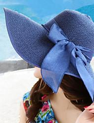 mulheres verão chapéu de palha dobrável aba larga bowknot chapéus de sol