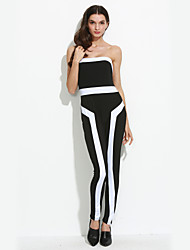Women's Striped Black / Multi-color JumpsuitsSexy Off Shoulder Sleeveless
