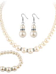 Women's Jewelry Set Drop Earrings Collar Necklace Crystal Rhinestone Luxury Elegant Bridal Pearl Crystal Imitation Pearl Rhinestone