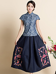 2017 new Chinese Republic modified skirts embroidered denim half-length skirt retro theatrical Washed