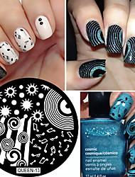 1шт звездное небо печать ногтевой пластины