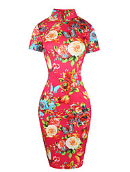 Women's Party/Cocktail Sexy Vintage Bodycon Dress,Floral Turtleneck Knee-length Short Sleeve Cotton Polyester Blue Red Summer High Rise