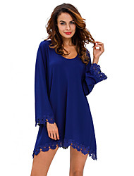 Women's Lace Trim Long Sleeve Casual Mini Dress
