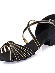 Kids' Dance Shoes Latin shoes  Satin Leatherette  Black / Gold L53