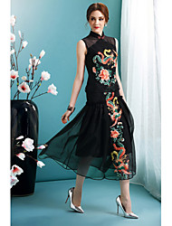 Mujer Corte Swing Vestido Noche Fiesta/Cóctel Vacaciones Boho Chic de Calle,Floral Escote Chino Midi Manga Larga Negro Poliéster Primavera