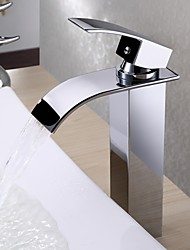 Modern Centerset Waterfall Bathroom Mixer Tap Thermostatic Rain Shower with  Ceramic Valve Single Handle One Hole Basin Faucet