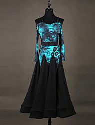 Wir werden Ballsaal Tanzkleider Frauen Performance Chinlon Organza Spleißen Langarm Kleid