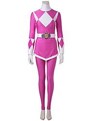 Fantasias de Cosplay Festa a Fantasia Super-Heróis Fantasias Cosplay de Filmes Branco Rosa GeométricaBlusa Calças Luvas Cinto Mais