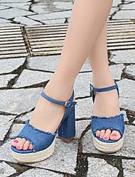 Saltos-Sapatos clube-Salto Grosso-Azul-Tecido-Social