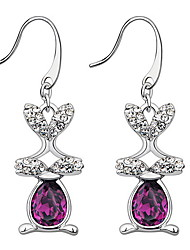 Drop Earrings Crystal Sterling Silver Simulated Diamond Fashion Silver Purple Jewelry Daily Casual 1 pair