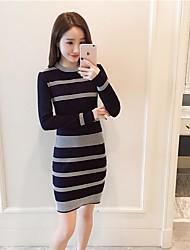 unterzeichnen neue schlanke langärmeligen Pullover Kleid Frauen sexy Paket Hüfte Knithemd