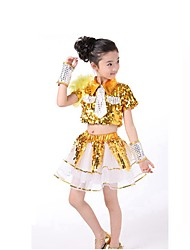 Jazz Outfits For Boys Performance Spandex Sequined Sequins 4 Pieces Short Sleeve Natural Top Bracelets Shorts