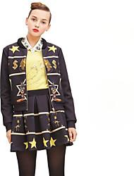 Европа станция 2016 новых женщин ретро печати пространство хлопка с длинными рукавами куртка + юбки костюмы