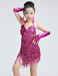 Latin Dance Dresses Children's Performance Spandex Sequins Tassel(s) 6 Pieces Sleeveless Natural Dress with Headpieces