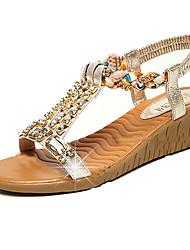 Sandals Spring Summer Fall Comfort PU Casual Flat Heel Rhinestone Gold Sliver