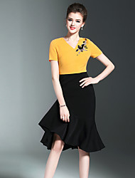 Burdully Casual/Daily Simple A Line DressPatchwork V Neck Midi Short Sleeve Polyester Black Yellow Spring Summer Mid Rise Inelastic