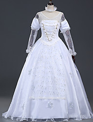 Cosplay Costumes Princess Queen Fairytale Movie Cosplay White Lace Dress Halloween Carnival Female Satin Chiffon