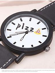 Модные часы Кварцевый Кожа Группа С подвесками Повседневная Часы с текстом Черный Белый