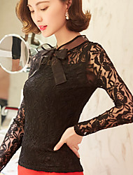 Spot really making 2017 spring bow lace long-sleeved lace shirt Slim female white shirt