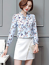 Going out Simple Spring Summer Shirt,Print Crew Neck Long Sleeve Blue Brown Cotton Polyester Medium
