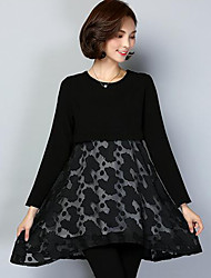 Women's Plus Size Casual/Daily Simple Swing Dress,Solid Print Mesh Round Neck Above Knee Long Sleeve Polyester Black Spring Mid Rise