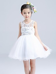 Ball Gown Short / Mini Flower Girl Dress - Cotton Lace Tulle Sleeveless Jewel with Beading Bow(s) Lace