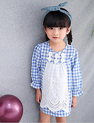 Girl Casual/Daily Beach School Print Plaid Patchwork Shirt,Cotton Spring Long Sleeve